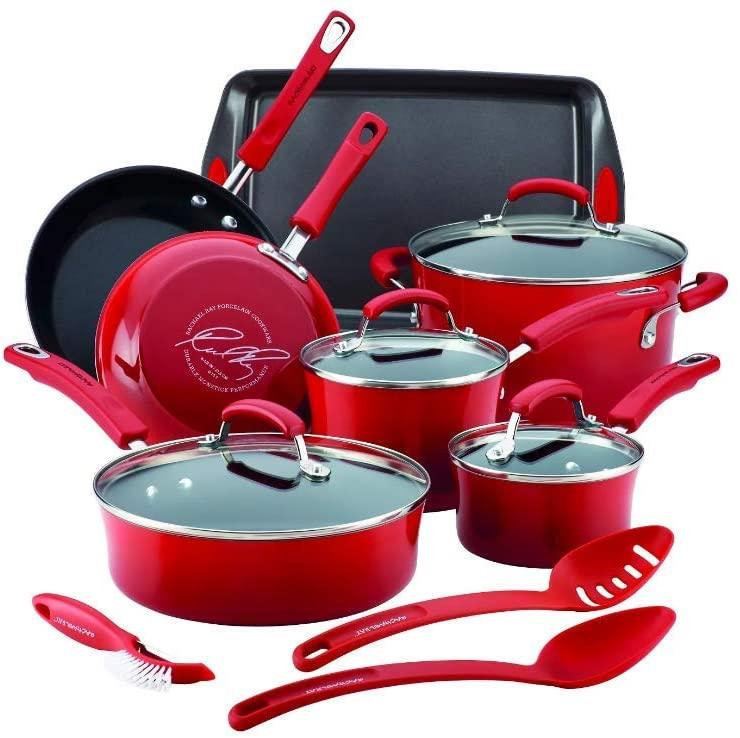 Rachael Ray Cityscapes Porcelain Enamel Aluminum Nonstick 14pc Cookware Set, Cherry Red (16899)