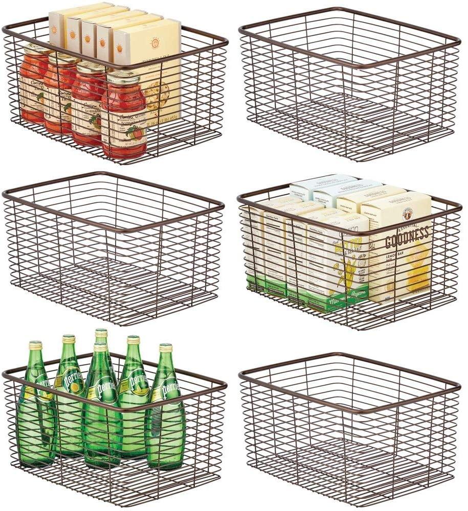 mDesign Farmhouse Decor Metal Wire Food Organizer Storage Bin Basket for Kitchen Cabinets, Pantry, Bathroom, Laundry Room, Closets, Garage - 6 Pack - Bronze