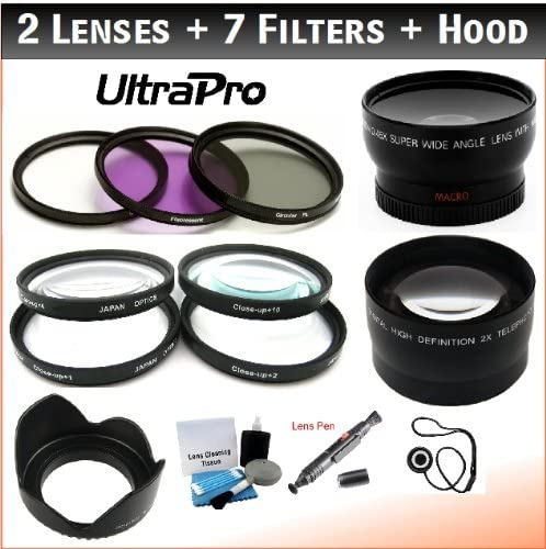 58mm Professional Lens + Filter Bundle: UV, CPL, FL-D, 1, 2, 4, 10 Filters, 2X Telephoto Lens, 0.45x HD Wide Angle Lens w/Macro for Select Pentax Digital Cameras. Includes UltraPro Accessory Set