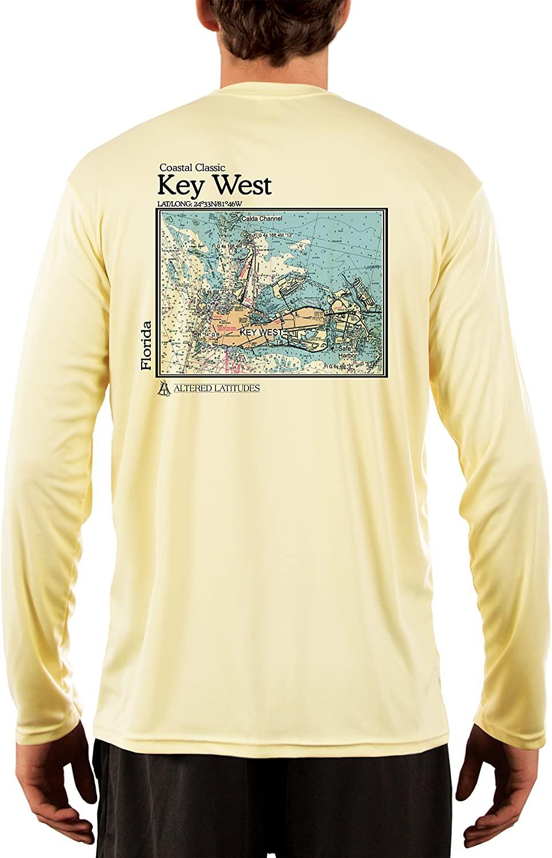 Coastal Classics Key West Nautical Chart Men's UPF 50+ Sun Protection Long Sleeve T-Shirt