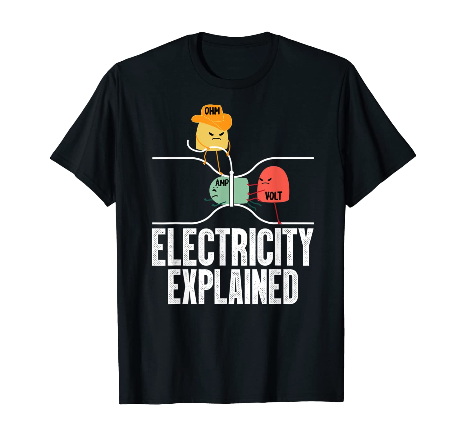 Ohm Volt Amp Electricity Explained Funny Electrician Nerd T-Shirt