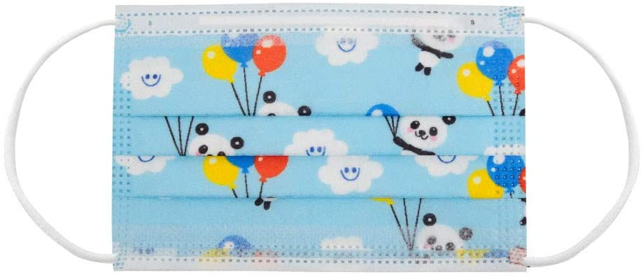 Face Bandanas, Disposable 3Ply 100 pcs with Cute Animal Print, Face_Masks for Kids for School, Travel, Indoor & Outdoors