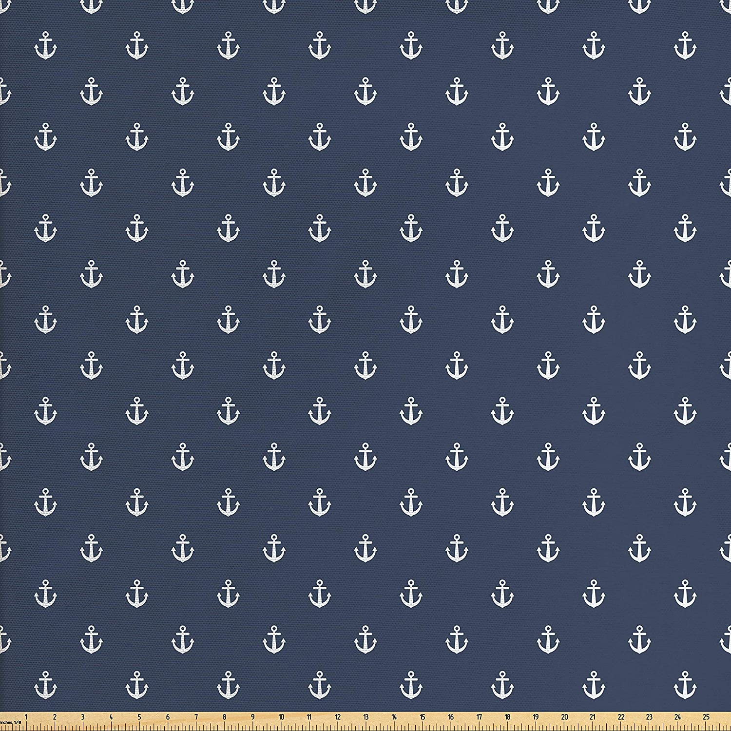 Ambesonne Navy Blue Fabric by The Yard, Nautical Classical Pattern with White Little Anchor Sea Travel Cruise, Decorative Fabric for Upholstery and Home Accents, 2 Yards, Bluegrey White