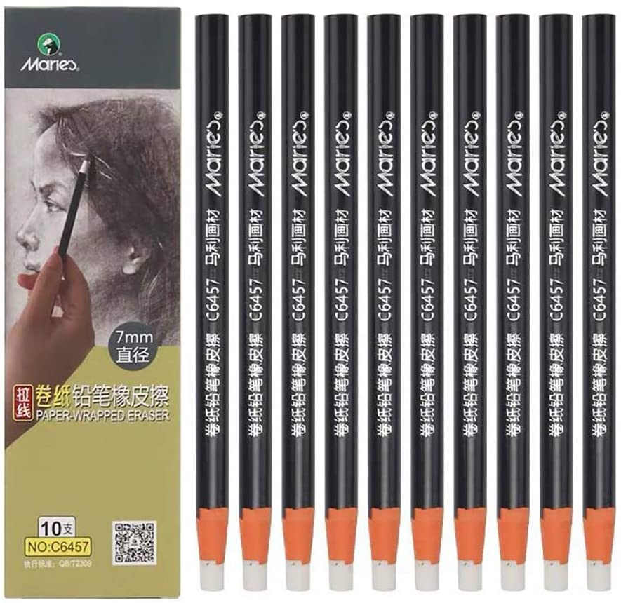 Hand Tear Sketch Eraser Pen-Style Shape Pencil Eraser Pen Round Tip Highlight Rubber School Supplies 10 Pack (7mm)