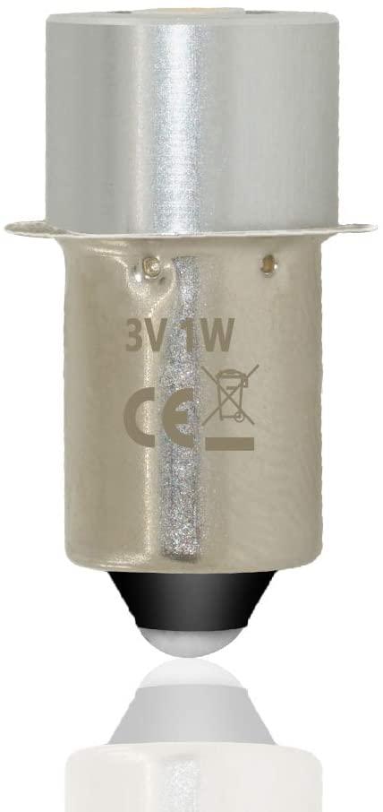 1W P13.5 Base LED Upgrade Torch Flashlight Bulbs 3v 3.7v 4.5v 6v 7.5v 9v 12v 15v for 3 4 5 6 Cell D/C Torch Bulb Bicycle Headlamps Led Conversion Kit Flashlight lamp (Cold White, 2 Cell C&D 3V)