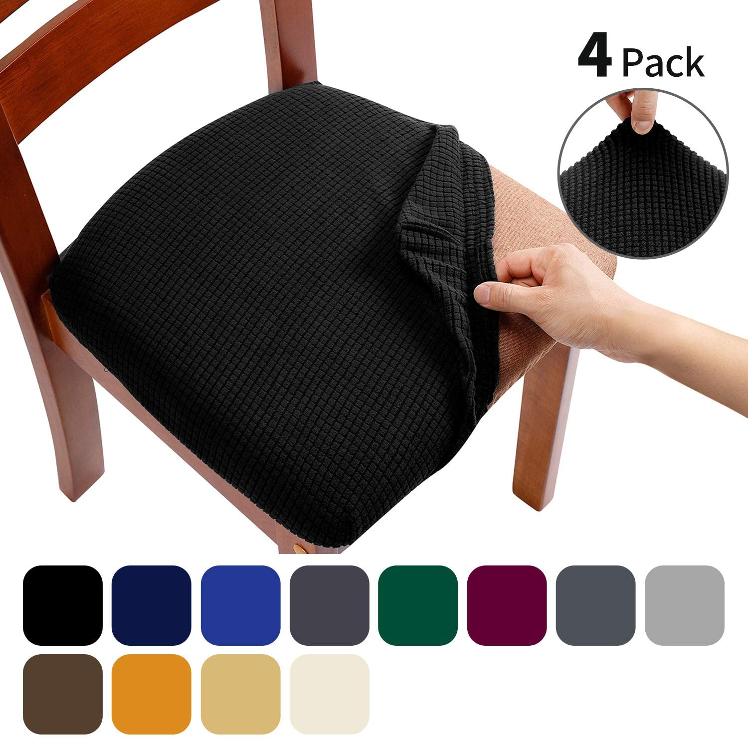 AlGaiety Dining Chair Covers, Chair Slipcovers for Dining Room, Stretch Jacquard Dining Chairs Covers Set of 4, Removable Washable Anti-Dust Chair Seat Covers, Seat Covers for Chairs, Black