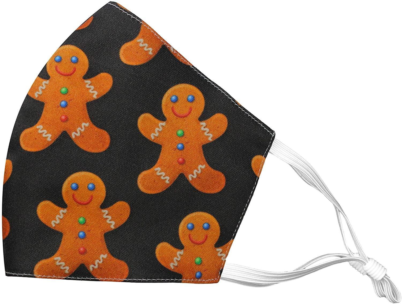 Reusable Face Mask Made in USA Filter Pocket Adjustable Ear Loops Cotton Washable Gingerbread Man Black