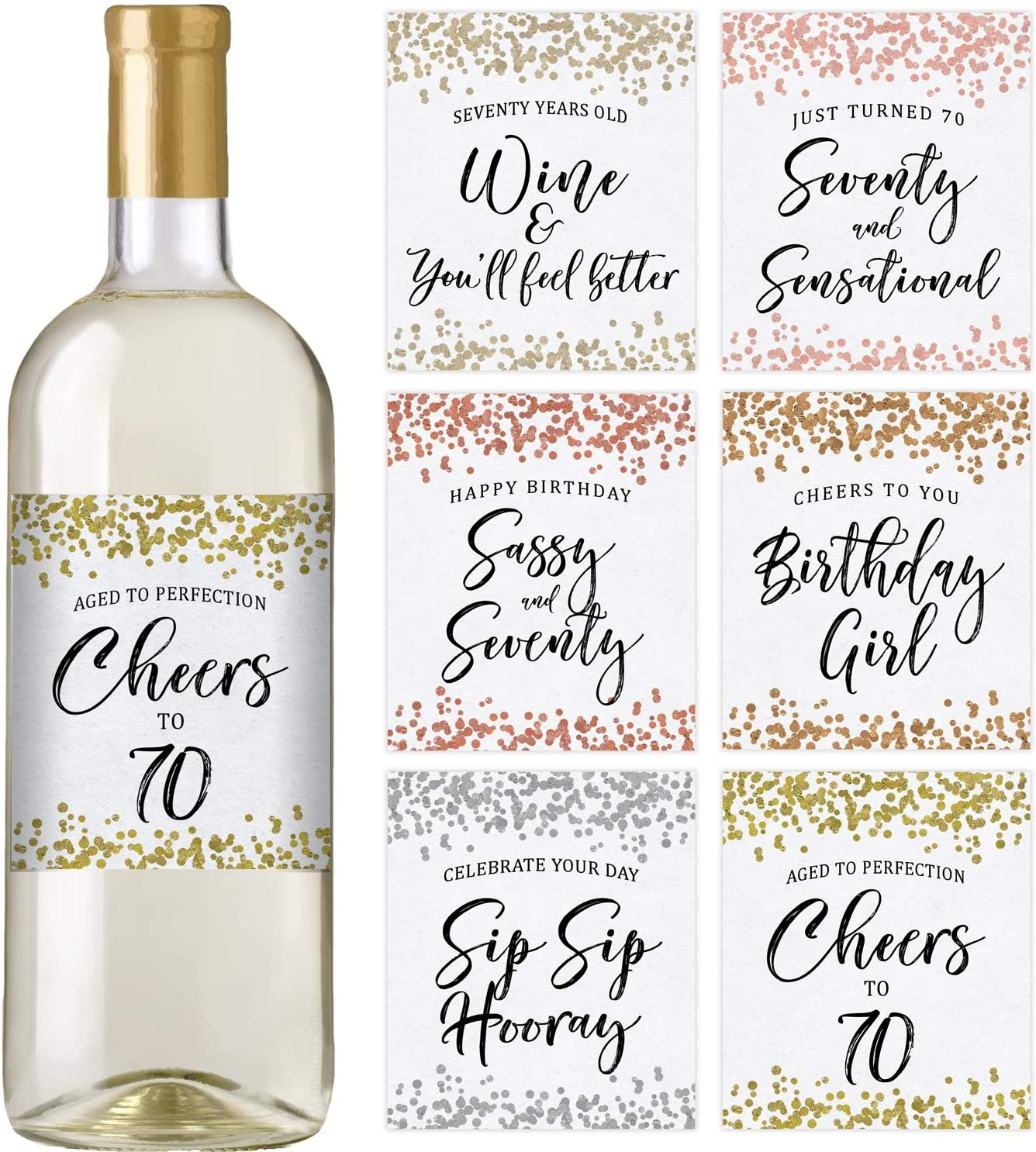 70th Birthday Wine Labels, Set of 6 Waterproof Labels, Birthday Gifts For Her, 70th Birthday Party Decorations, Ideas and Supplies