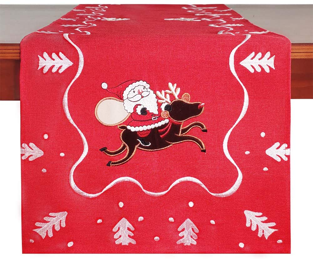 Galilery Red Wedding Embroidered Table Runner Rectangular,14 x 70,One Piece,for Events Indoor Outdoor Party Wedding Decorations and Christmas Decoration,Wedding Party Events Decoration