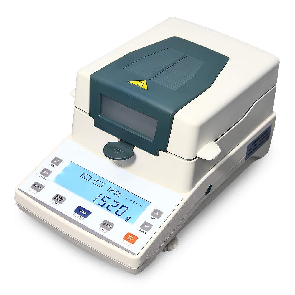 AMTAST 110V 60Hz Halogen Moisture Meter Halogen Moisture Analyzer 110g x 1mg, 0.01% Readability LCD Precision Lab Moisture Tester for Agriculture, Medicine, Plastic
