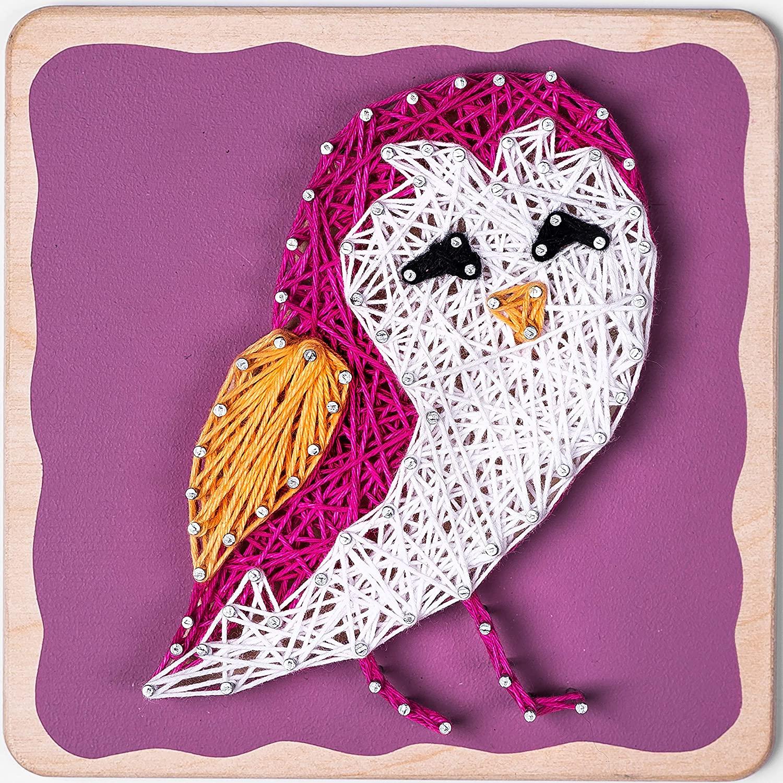 Fornel String Art Kit Owl- Bigger Size Canvas - Colored DIY Owl Art String Crafts for Girls Kids Teens Ages 8-15