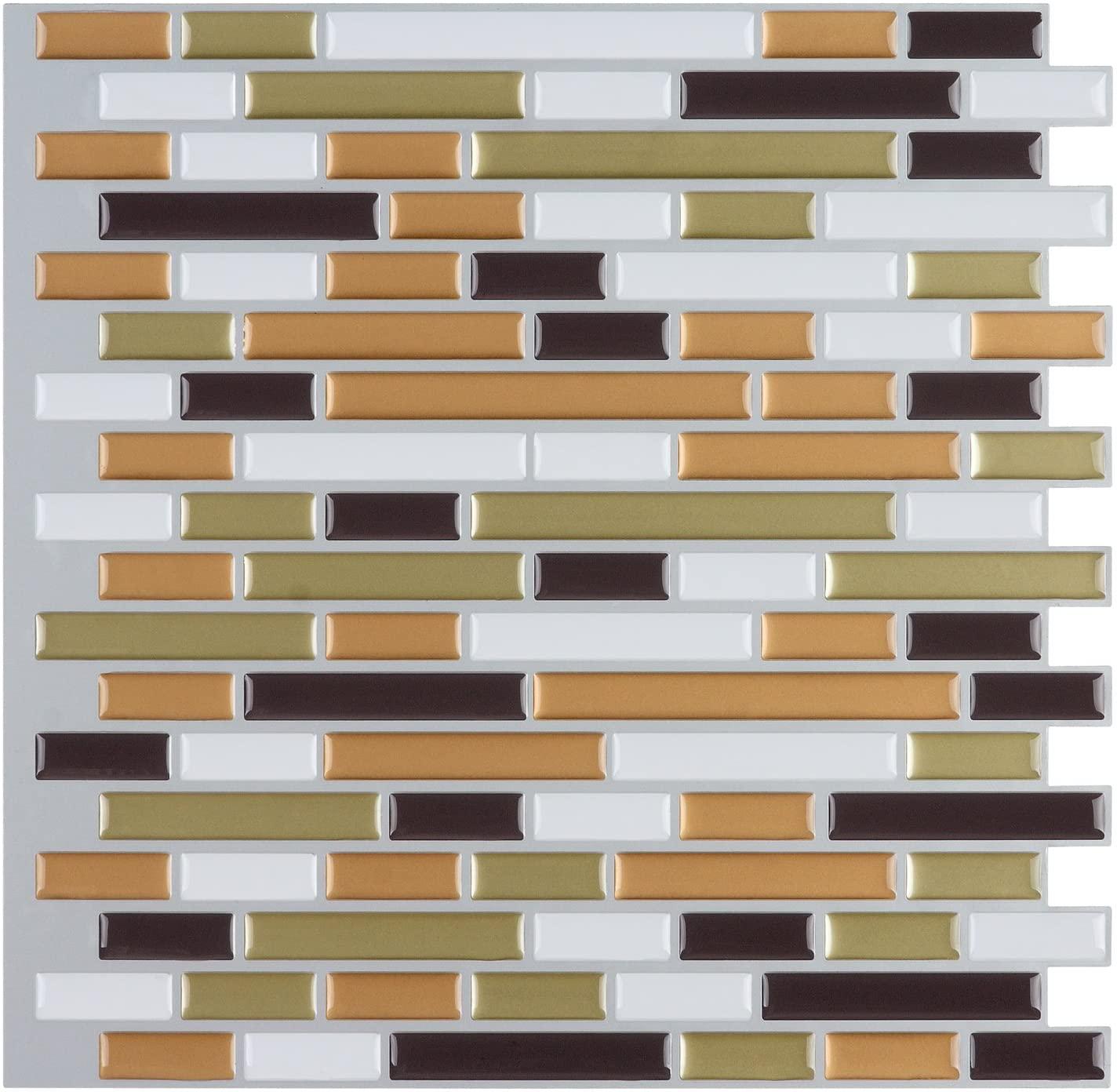 Art3d 10-Piece Peel-N-Stick Backsplash Tile Sticker Vinyl Wall Covering, 12