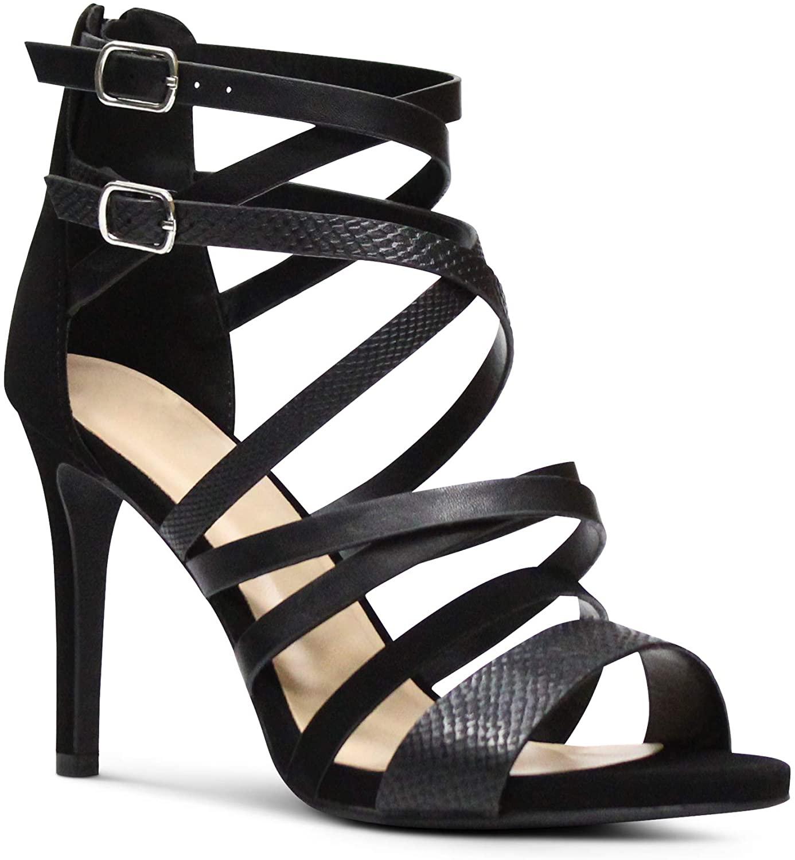 MARCOREPUBLIC Tripoli Women's Open Toe Low Platform High Heels Shoes Stiletto Dress Sandals