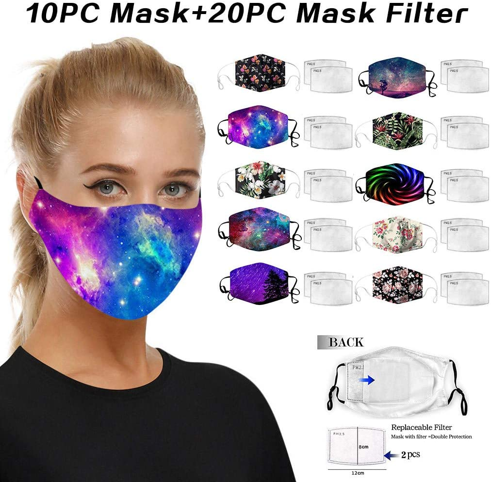 10 pcs Unisex Cotton Face_Mask Covering with 20 pcs Filters, Black Dust Cotton, Washable, Reusable Fabric