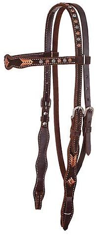 Circle Y Scallop Roughout Buckstitch Headstall