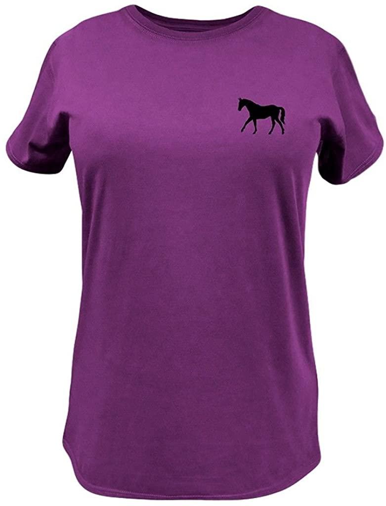 John Deere Western Shirt Womens S/S Riding My Horse L Fuchsia 23005403