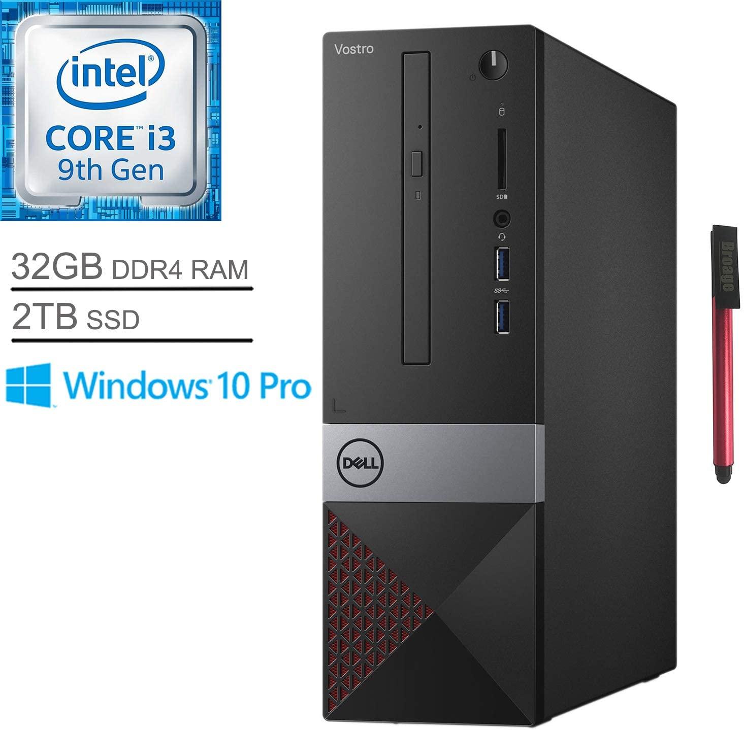 Dell Vostro 3471 Business Small Desktop Computer, Intel Quad-Core i3 9100 Up to 4.2GHz (Beats i5-7400), 32GB DDR4 RAM, 2TB SSD, DVDRW, WiFi, Bluetooth, HDMI, Windows 10 Pro, BROAGE 64GB Flash Stylus