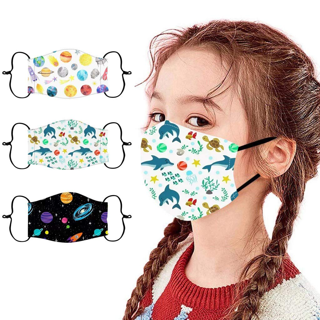 Gecau 3PC Kids School Face Cotton Bandana_Covering_MASK, Reusable&Washable, Cool Cartoon Printed Adjustable Ear Loop Face Madks for Little Boys Girls 3-13 Years