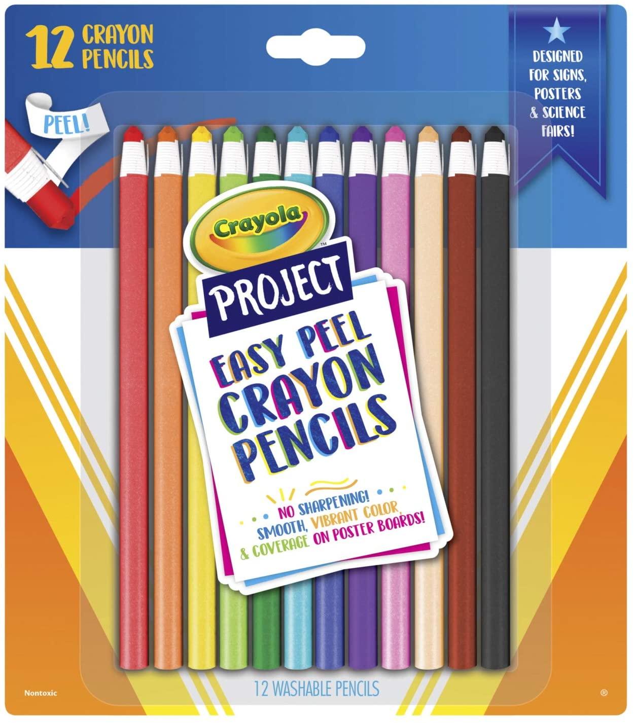 Crayola Crayon Pencils, Easy Peel, Assorted Colors, Coloring Supplies, 12 Count, Multi