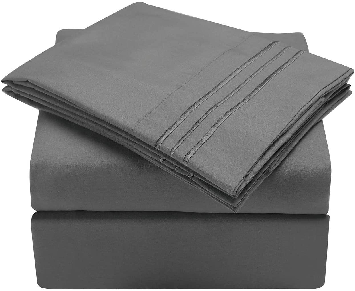HooSeen 4-Pieces Bed Sheets Set 1800 Series Microfiber-Wrinkle & Fade Resistant, Deep Pocket, Hypoallergenic Bedding Set, Pillow Case (Grey, Queen)