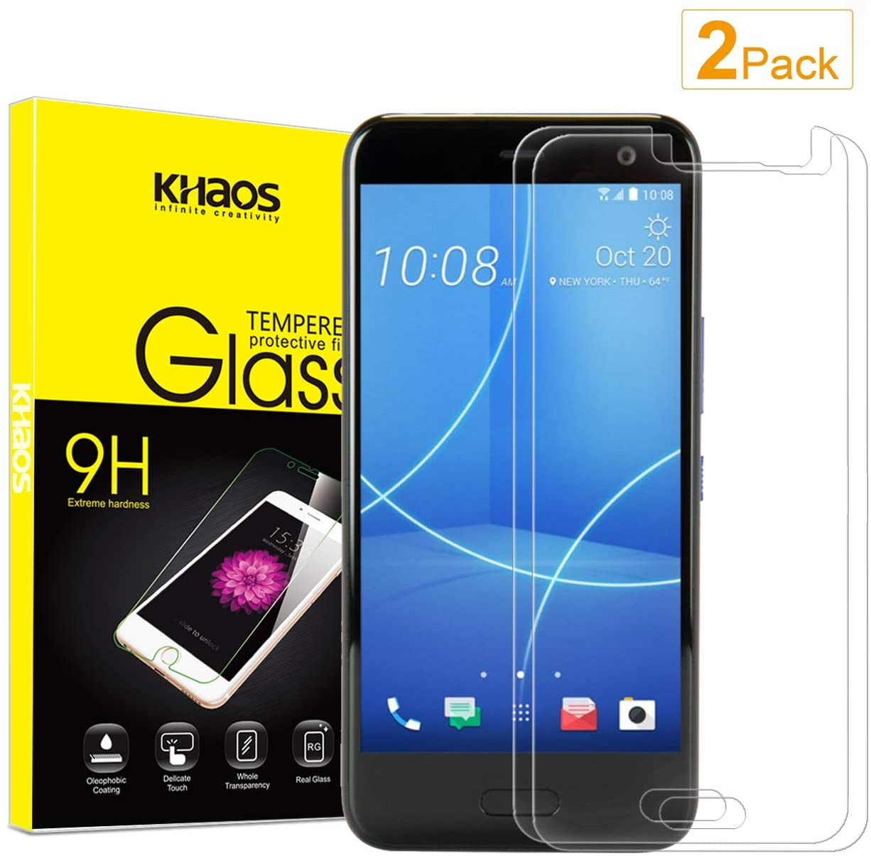 2Pack Screen Protector for HTC U11 Life, KHAOS Anti-Scratch Tempered Glass for HTC U11 Life