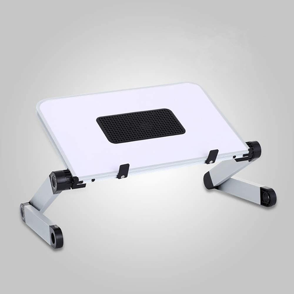 Laptop Stand with Fan, Laptop Table Stand, Ergonomic Laptop Riser Notebook Reading Holder for Desk, Foldable Laptop Desk Stand Lap Bed Tray Table Standing Desk (White with Fan, Large)