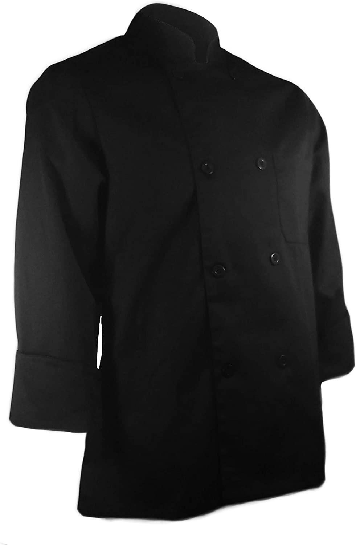 ChefsCloset Unisex Long Sleeve Button Black Chef Jacket Small Chef Coat
