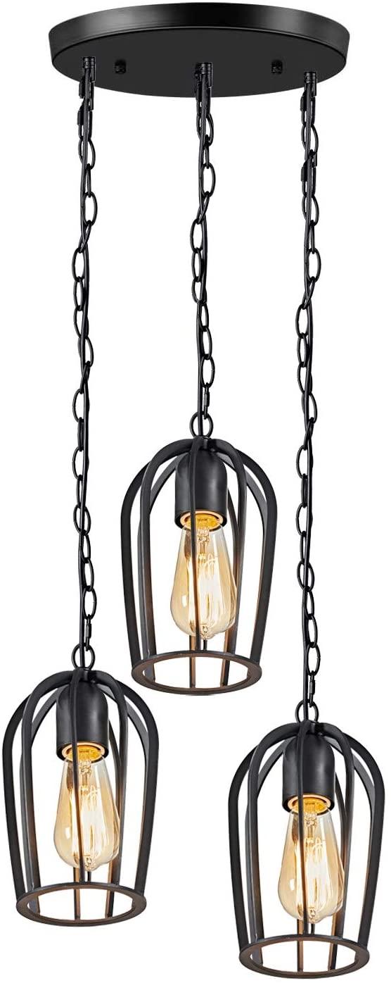 MOTINI Cluster Pendant Lighting Black Finish Cage Light Fixture Ceiling Chain Hanging Adjustable Chandelier for Bedroom, Dining Room, Kitchen Island