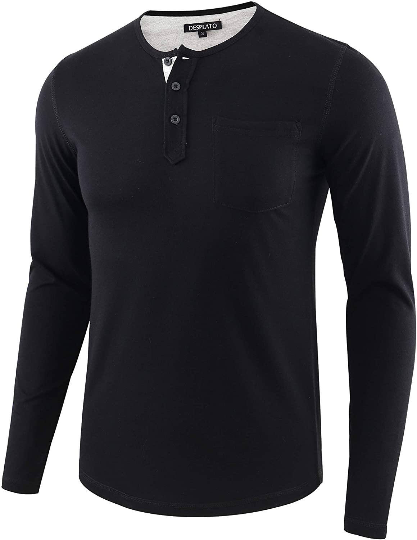 DESPLATO Mens Casual Sport Baseball Long Sleeve Button Up Pocket Henley T Shirt