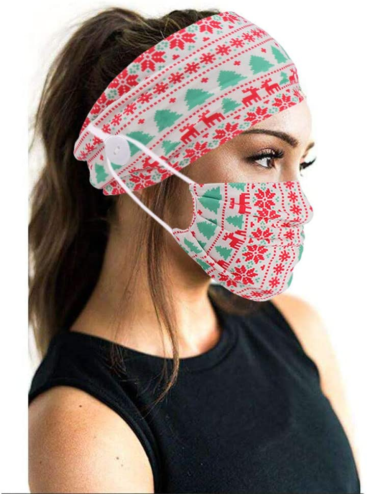 Adults Face Bandana_Mask_Covering +Button Hairband Set, Fashion Printed Adjustable Face Protection for Teacher Starts School Face Fabric Washable Reusable Easy Breathable