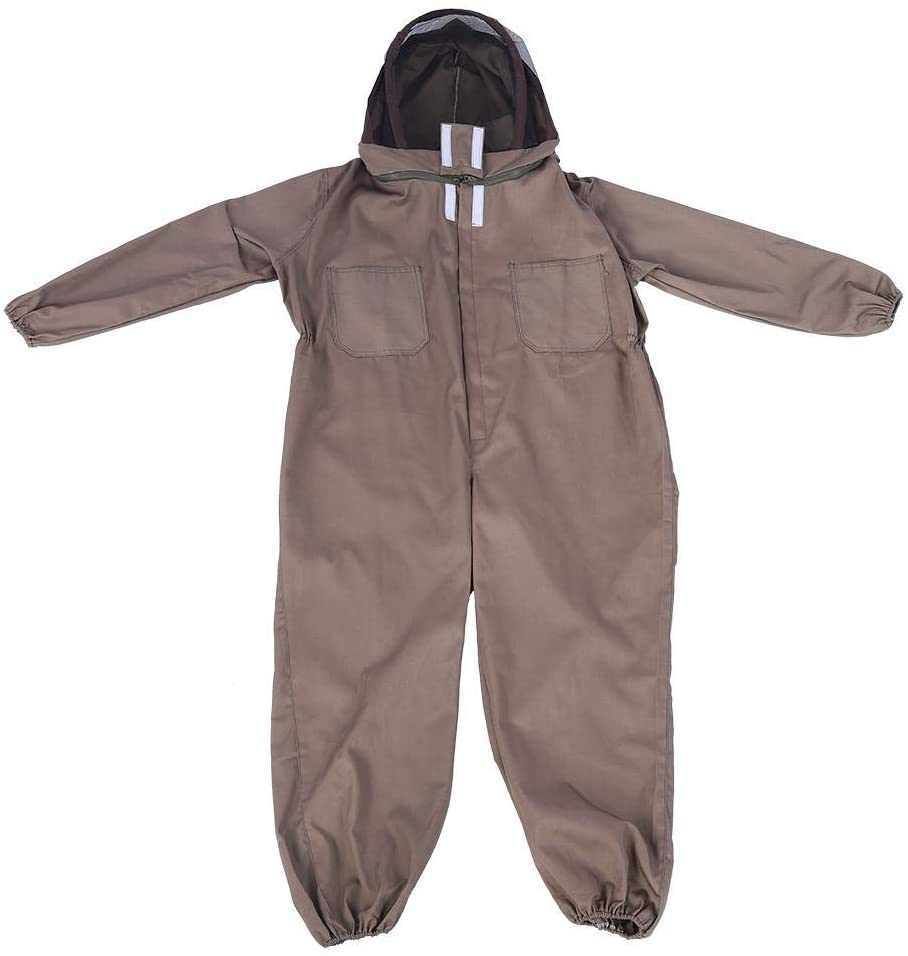 Biunixin Beekeeping Suit, Cotton Zippered Protective Beekeeper Clothing with Hooded Veil(XL)