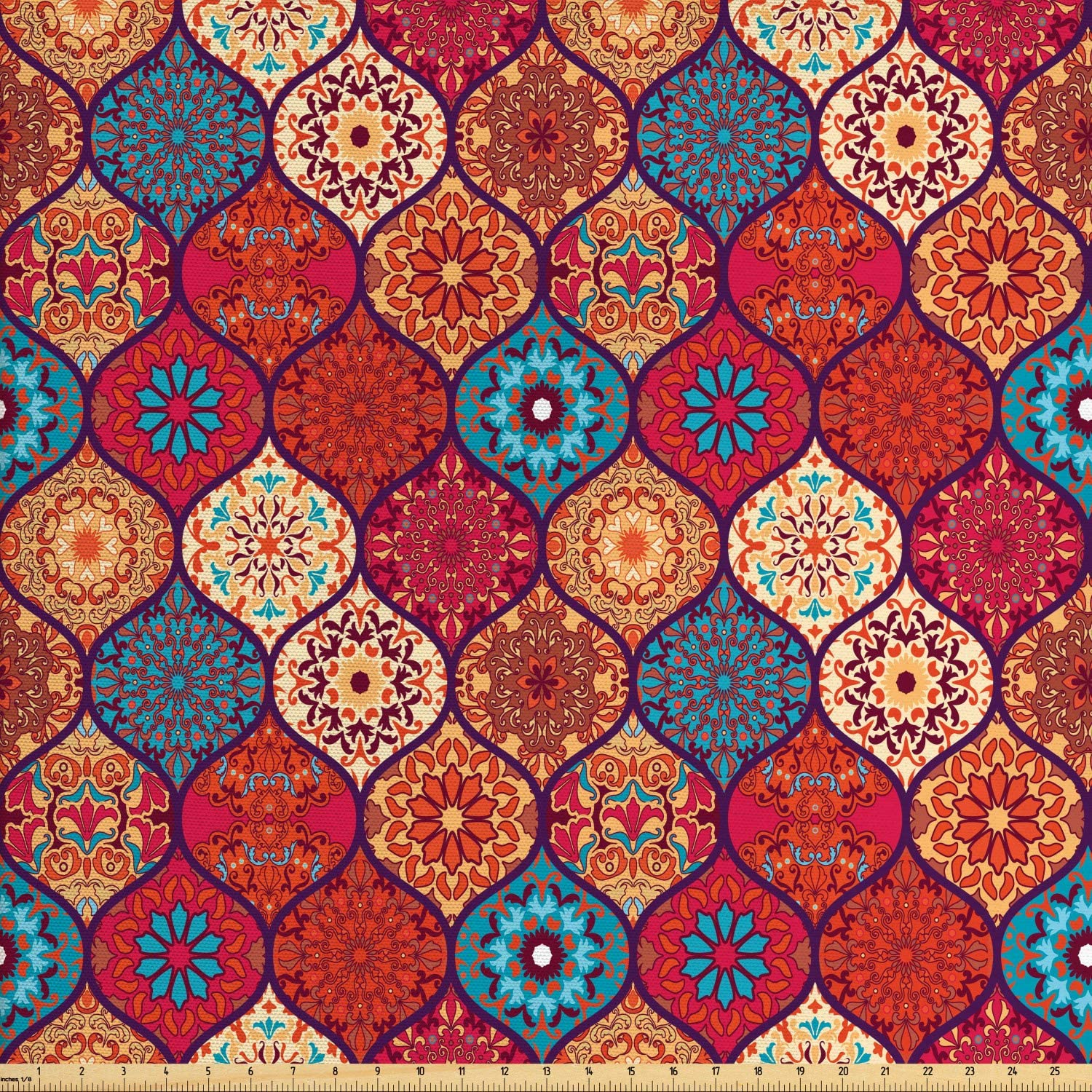 Ambesonne Moroccan Fabric by The Yard, Oriental Wavy Curvy Pattern with Spring Nature Inspired Retro Style Art Motifs, Decorative Fabric for Upholstery and Home Accents, 5 Yards, Ruby Orange