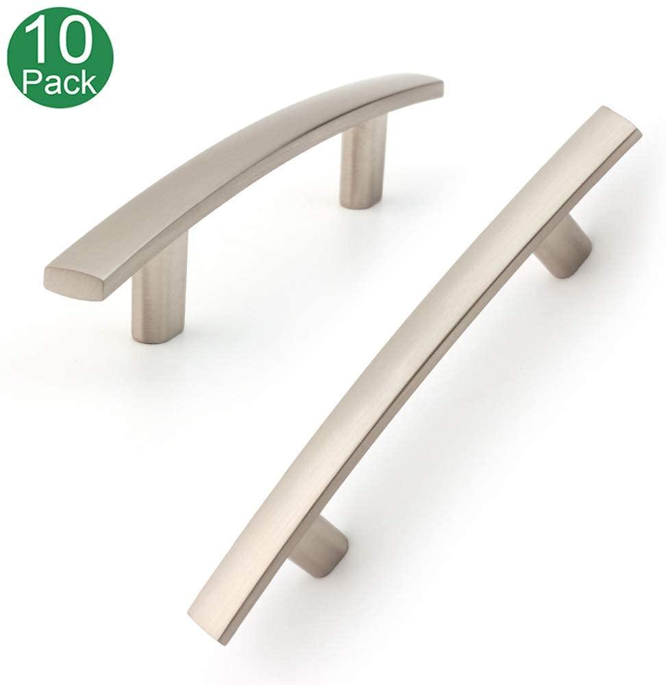 Koofizo Curved Bar Cabinet Pull - Nickel Furniture Arch Handle, 3 Inch/76mm Screw Spacing, 10-Pack for Kitchen Cupboard Door, Bedroom Dresser Drawer, Bathroom Wardrobe Hardware