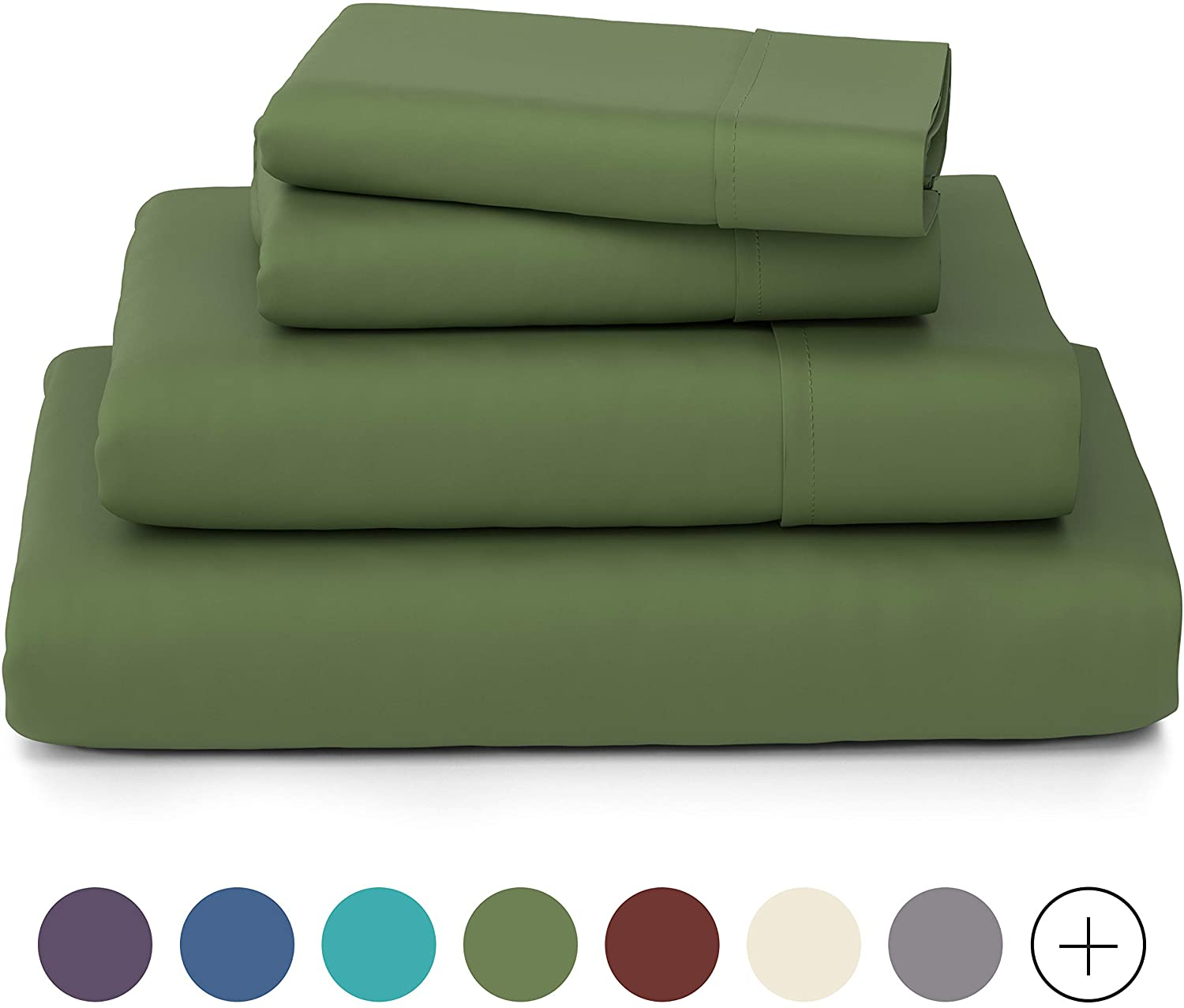 Cosy House Collection Luxury Bamboo Bed Sheet Set - Hypoallergenic Bedding Blend from Natural Bamboo Fiber - Resists Wrinkles - 4 Piece - 1 Fitted Sheet, 1 Flat, 2 Pillowcases - King, Sage Green
