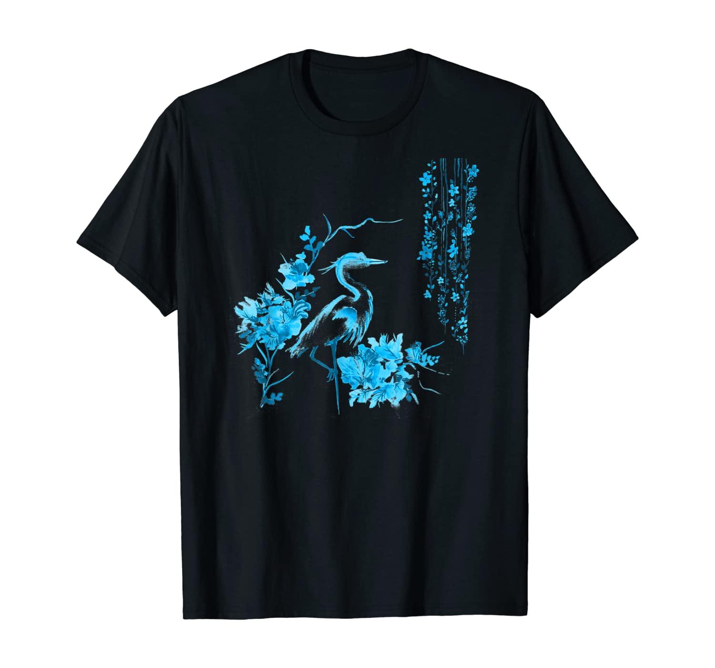 Japanese Art Crane Bird Fresh Garden Stylish Design T-Shirt
