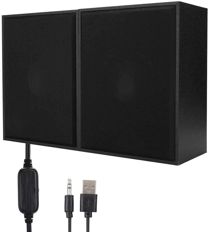 FT-180A Desktop Wooden Speaker, Mini USB Multimedia 360° Stereo Music Player, Wide Compatibility High Sensitivity Computer Speaker for Laptop, Computer(Black)
