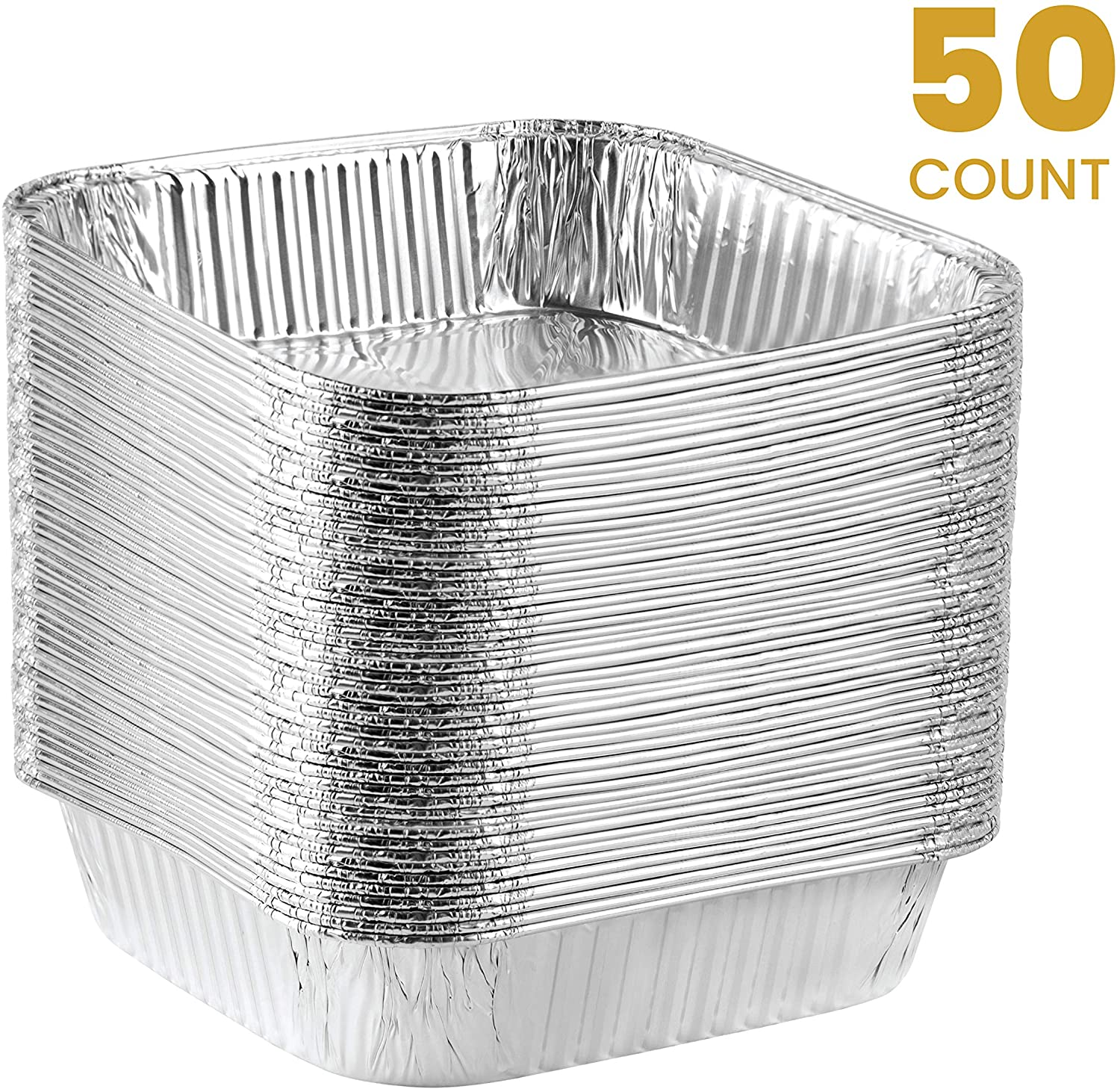 Plasticpro Disposable 8'' X 8'' X 2'' Inch Square Aluminum Tin Foil Baking Pans Bakeware - Cookware Perfect for Baking Cakes, Breads, Brownies, Bread, Meatloaf, Lasagna, Pack of 50