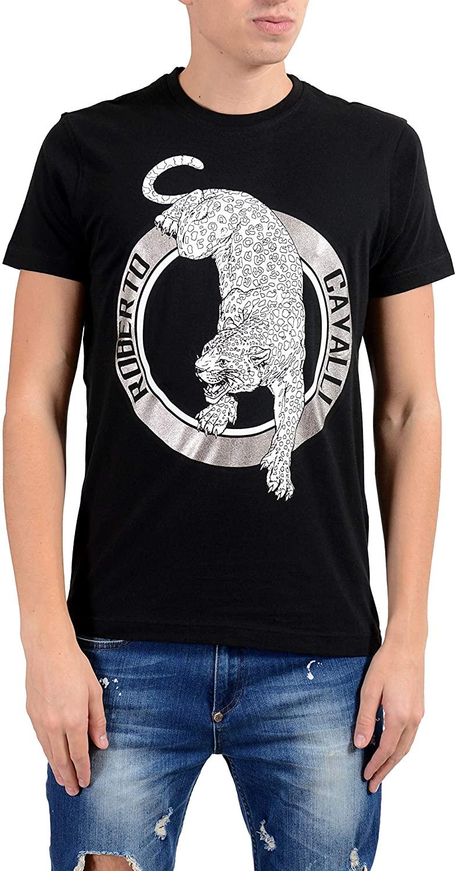 ROBERTO CAVALLI Men's Black Graphic Leopard Crewneck T-Shirt Size US L IT 52