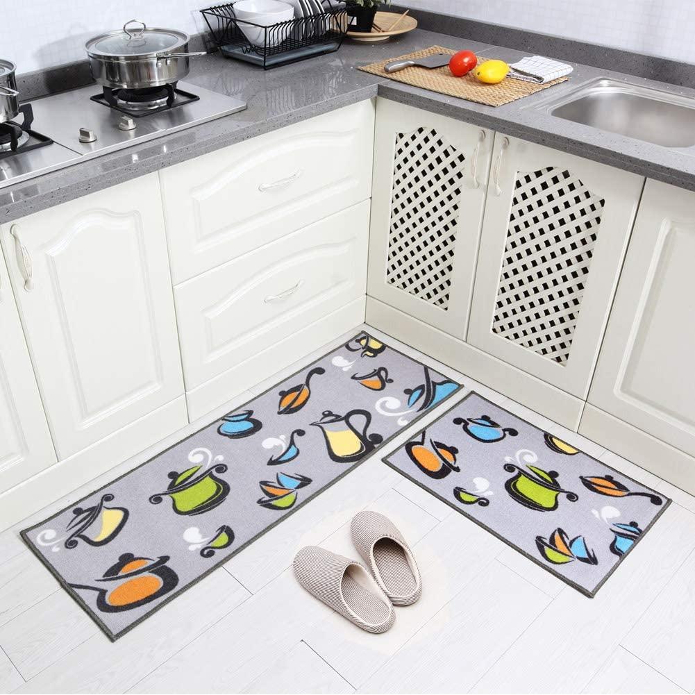 Carvapet 2 Piece Non-Slip Kitchen Mat Rubber Backing Doormat Runner Rug Set, Pots and Pans Design (Grey 15