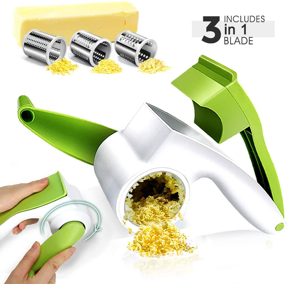 Cheese Graters for Kitchen with 3 Stainless Steel Blades Rotary Cheese Slicer Cutter Handheld