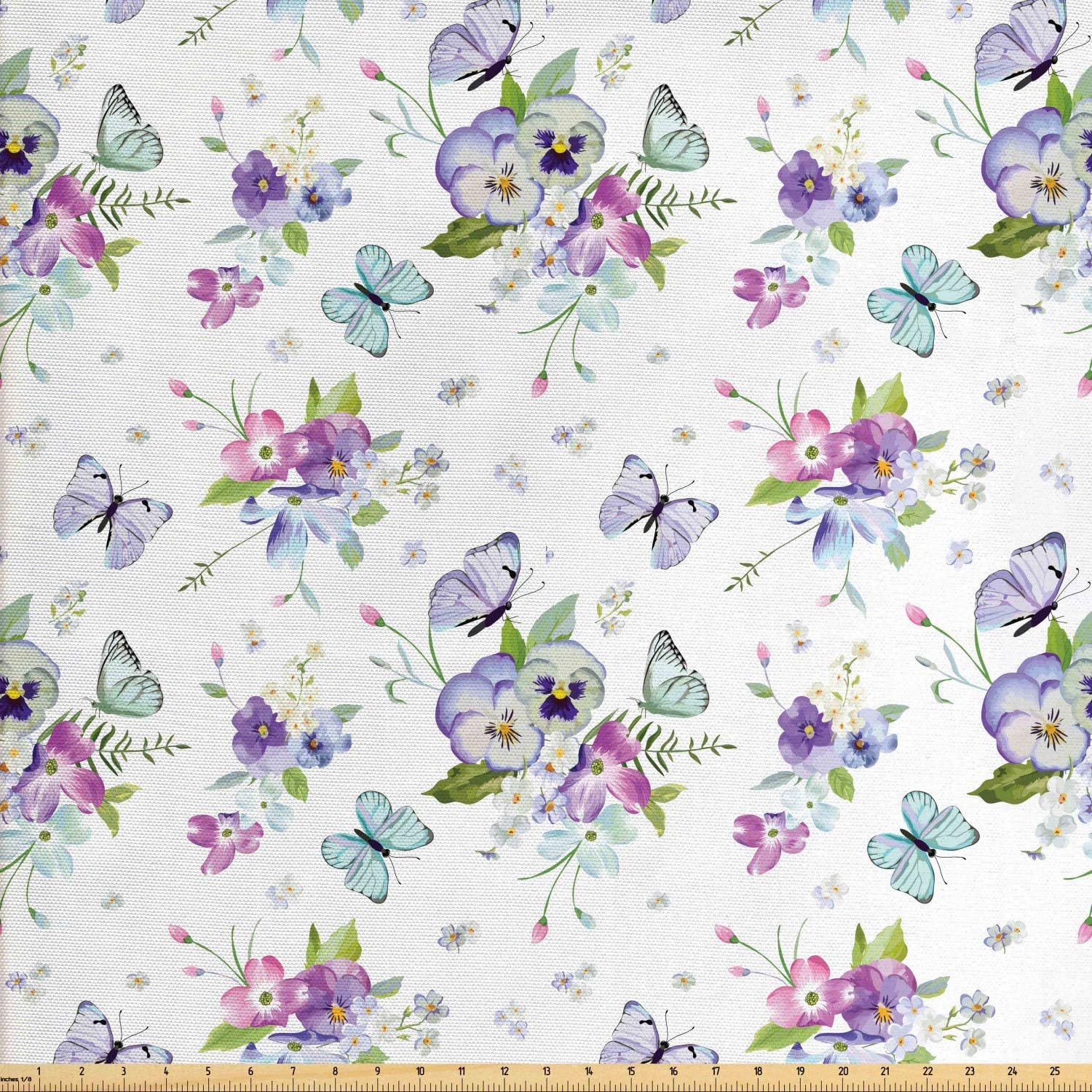 Lunarable Dogwood Flower Fabric by The Yard, Botanical Blooms with Spring Iris Peony Flying Butterflies Nature Theme, Decorative Fabric for Upholstery and Home Accents, 2 Yards, Lavender Purple