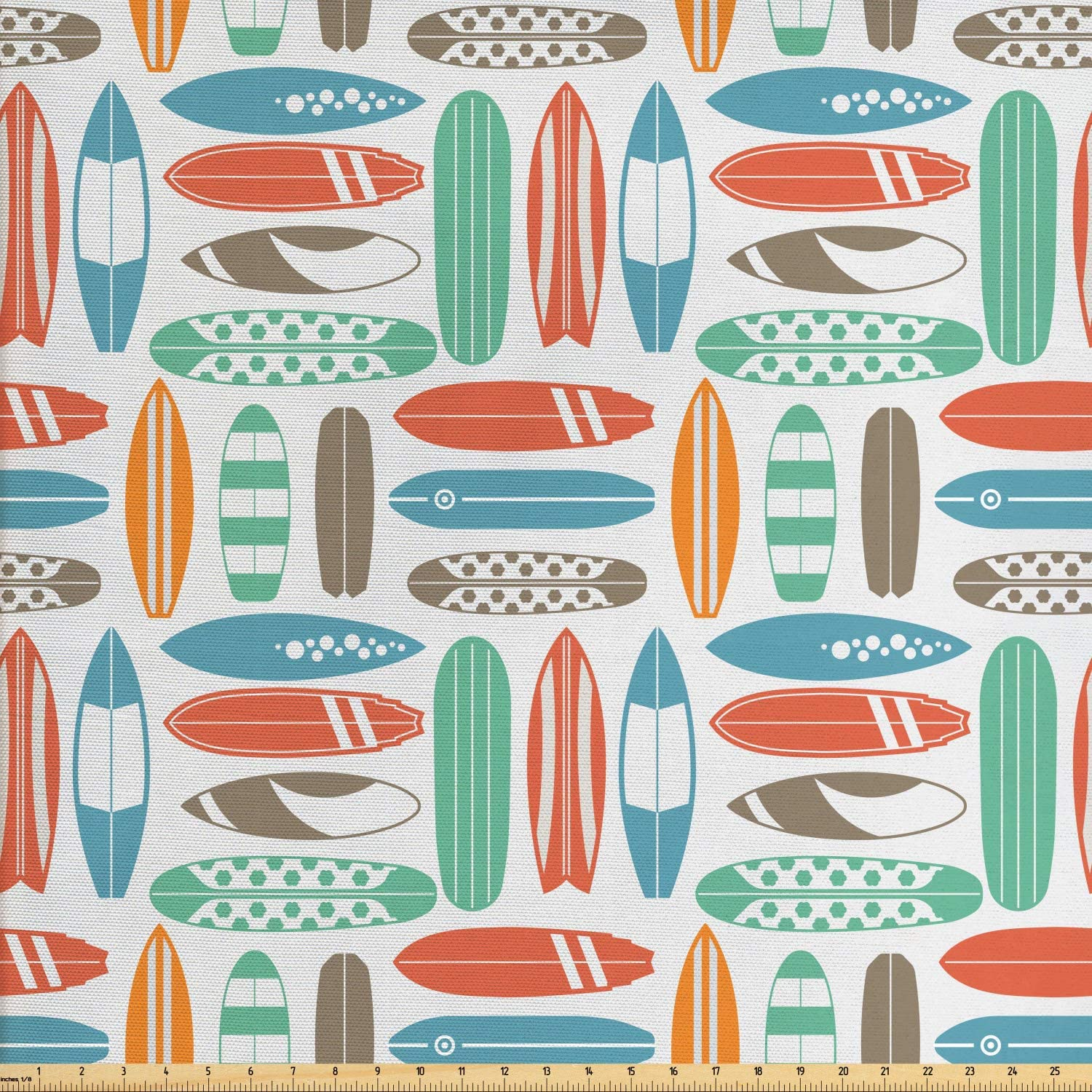 Ambesonne Surfboard Fabric by The Yard, Colorful Surfing Sea Pattern with Summer Travel Illustration in Retro Colors, Decorative Fabric for Upholstery and Home Accents, 3 Yards, Coral Orange