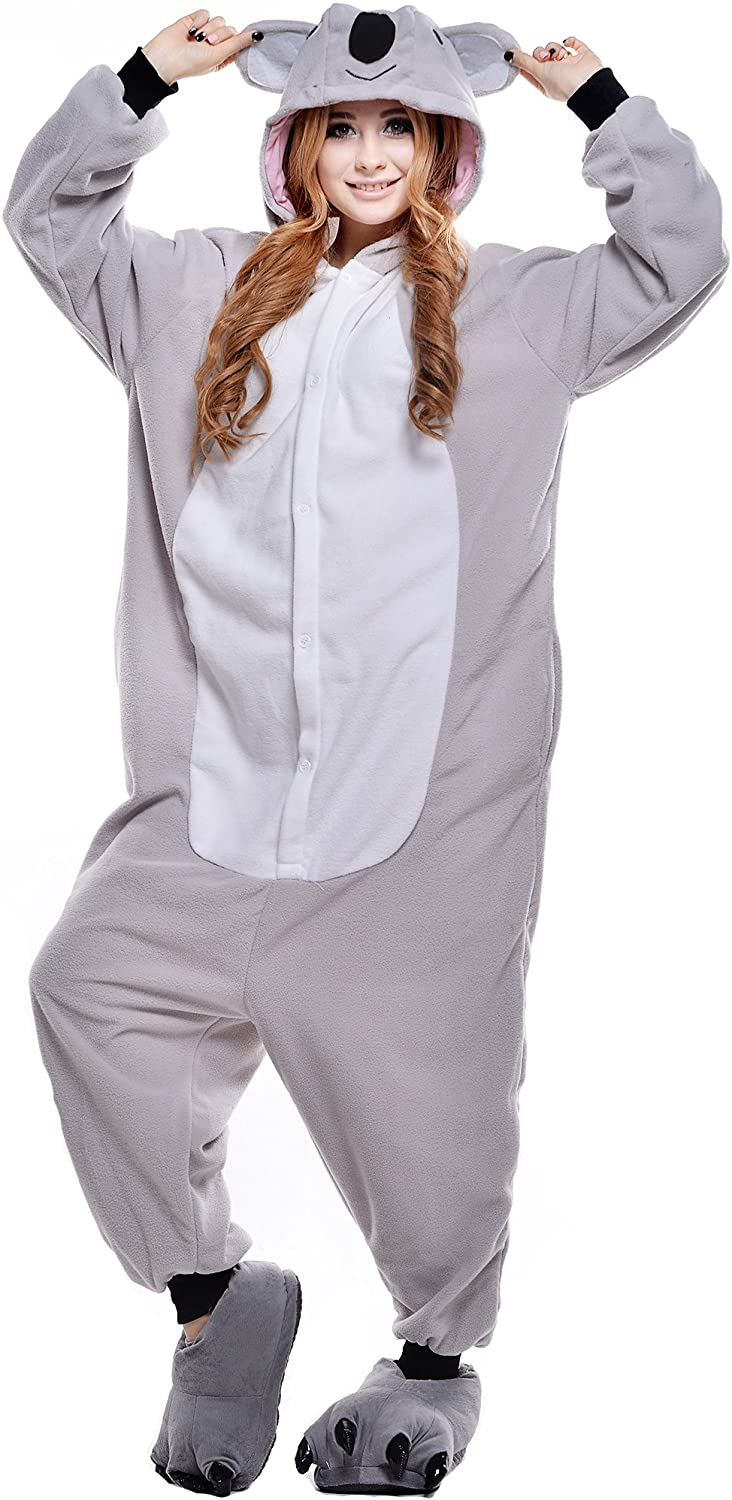 NEWCOSPLAY Grey Koala Costume Sleepsuit Adult Onesies Pajamas