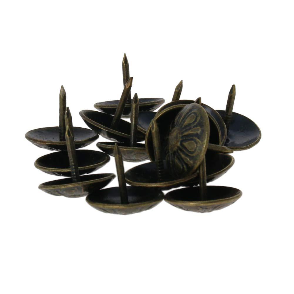 MroMax Upholstery Nails Tacks 16mm Head Dia Antique Round Thumb Push Pins Bronze Tone for Furniture Sofa Headboards 15Pcs