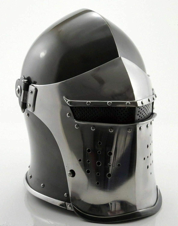 AnNafi Barbuta Viking Battle Knight Helmet   Black Medieval Visored Barbute Helm Armor SCA LARP Replica Costume