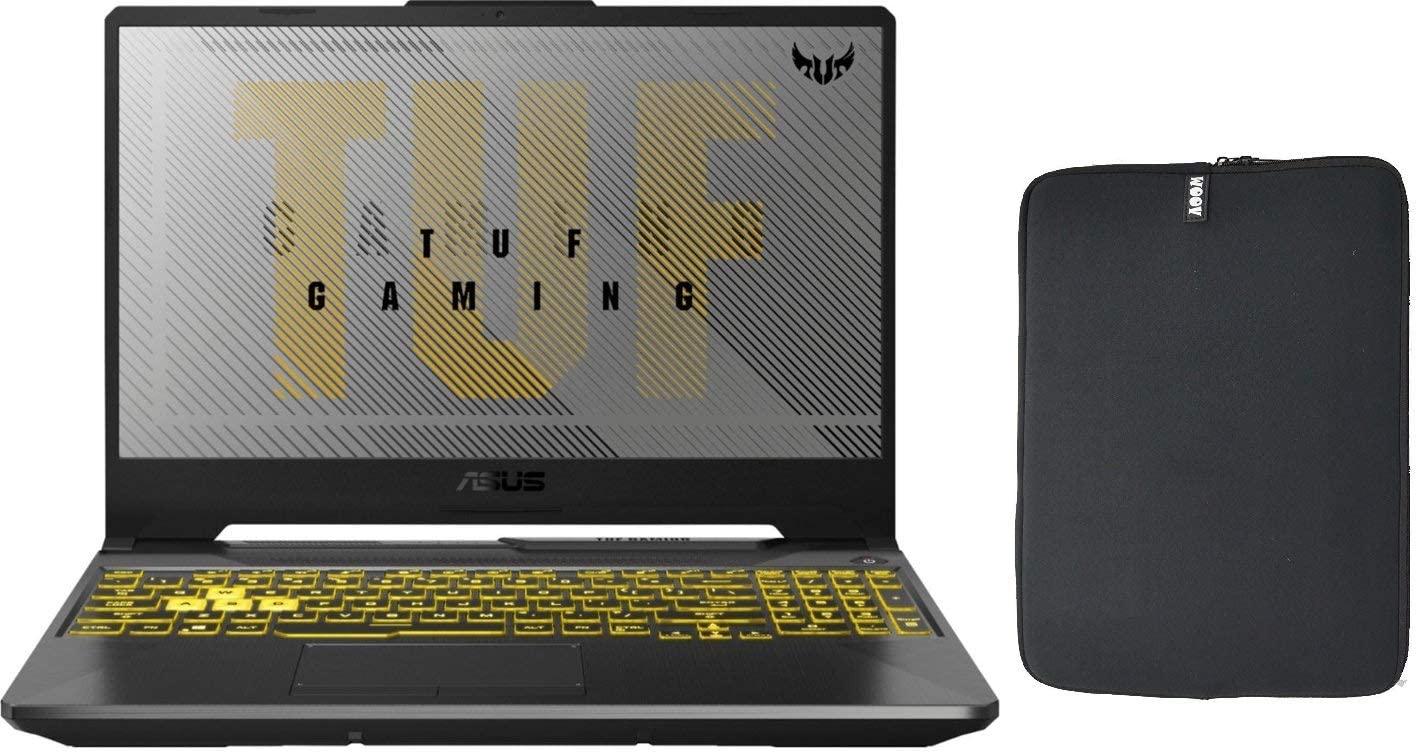 Asus TUF 15.6 FA506IV VR Gaming Laptop with Woov Sleeve, AMD 4th Gen Ryzen 7 4800H, 16GB RAM, 512GB PCIe SSD Boot + 1TB HDD, NVIDIA GeForce RTX 2060 6GB, RGB Backlit Keyboard, WiFi, Windows 10 Home