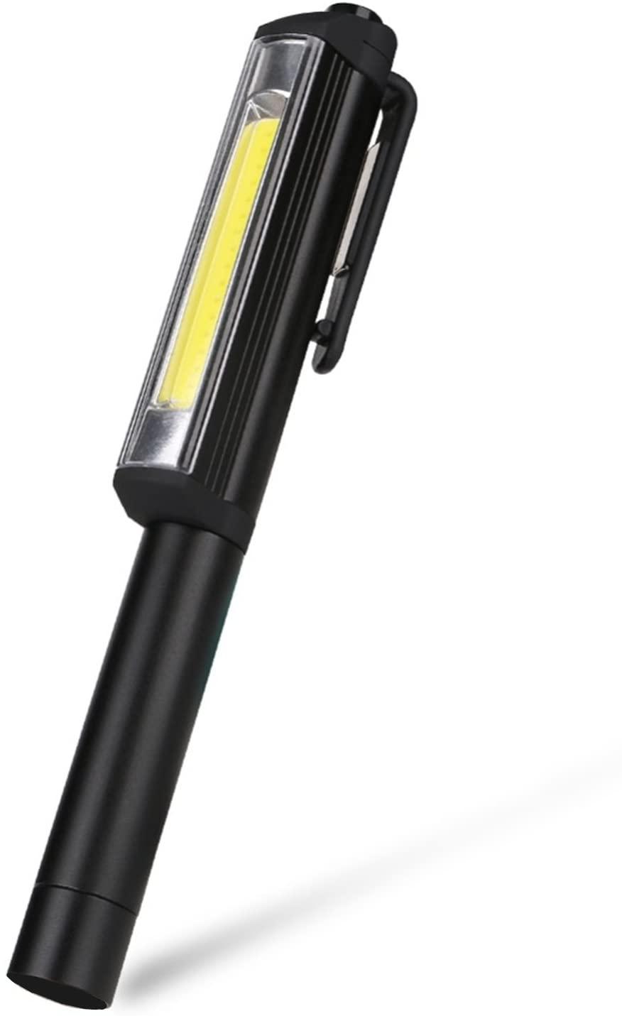 TAIYIdz Ultra Bright COB 220 Lumen LED Pocket Pen Work Light with Rotating Magnetic Clip. Camping, Househeld, Workshop, Automobile(BLACK)