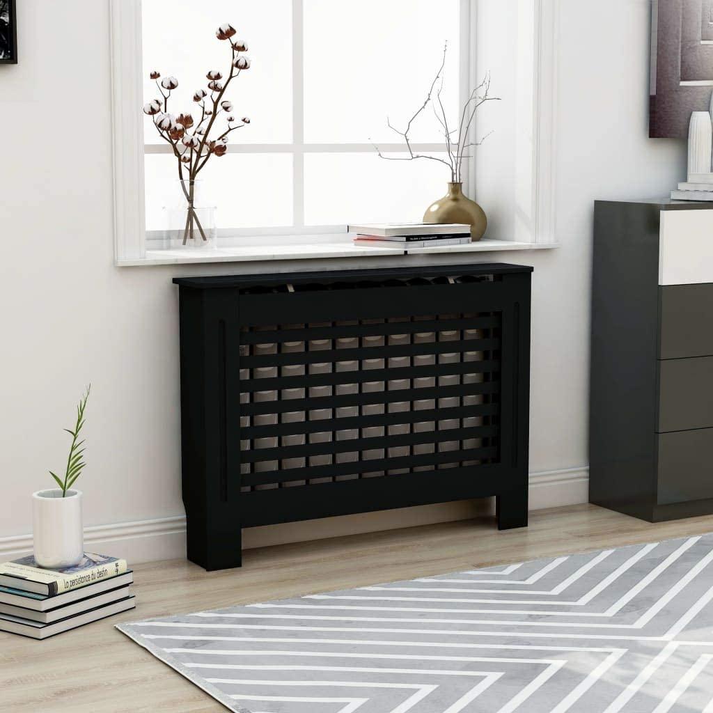 Extaum Radiator Cover,Heating Cover Cabinet, Modern Slatted Design for Living Room Furniture,Black MDF(44.1