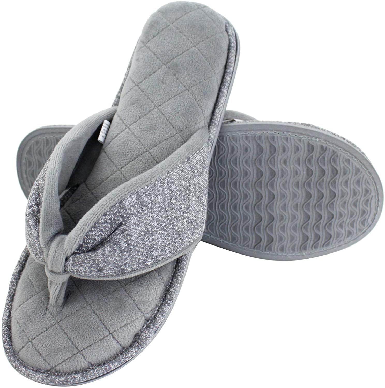 Magtoe Women's Velvet Lining Cozy Memory Foam Spa Thong Indoor Slippers