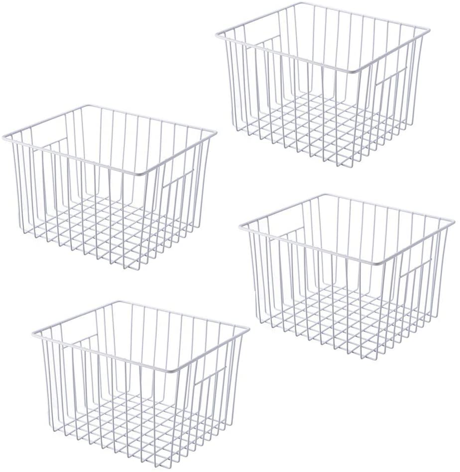 Freezer Organizer Bin, Kitchen Metal Wire Storage Basket, Pantry Cupboard Household Container Divider with Handles, Bathroom, Closet, Bedroom, Office, Rustproof - White(4)